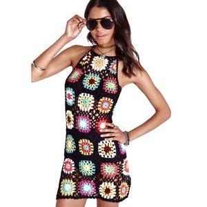 Simply Couture Granny Square Knit Mini Dress